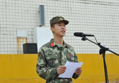 军训教官代表武警芜湖市支队周伟发言
